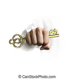 dourado, libra, tecla, símbolo, tesouro, mão, forma, segurando