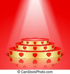dourado, lighting., cena, vermelho, corações