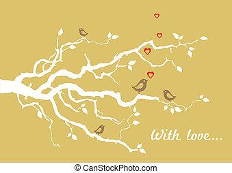 dourado, love', 'with, cartão cumprimento