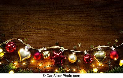 dourado, madeira, árvore, decoração, fundo, natal
