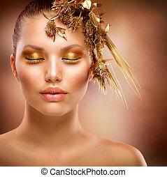 dourado, makeup., luxo, moda, menina, retrato