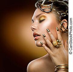 dourado, makeup., moda, menina, retrato
