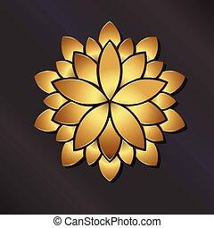 dourado, mandala., vetorial, flor, logotipo