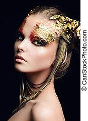 dourado, maquiagem