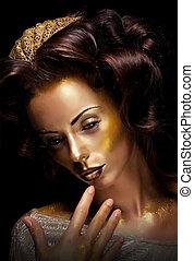 dourado, Maquilagem,  -, atuando, atriz, teatro, luminoso