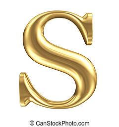 dourado, matt, carta s, jóia, fonte, cobrança