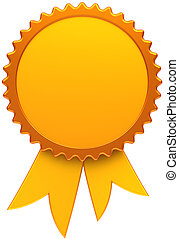 dourado, medalha, distinção, fita, em branco