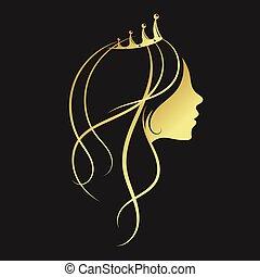 dourado, menina, coroa