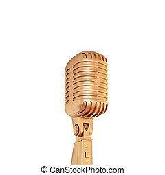 dourado, microfone, isolado, experiência., retro, branca