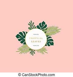 dourado, moda, abstratos, palma, colors., logotipo, borda, template., cor-de-rosa, pastel, bandeira, gradiente, monstera, tropicais, sinal, typography., cartão, folhas, emblema, redondo, foliage verde, classy, ou