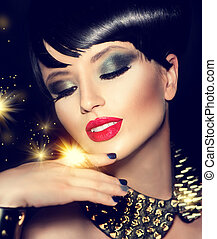 dourado, moda, beleza, maquilagem, acessórios, luminoso, modelo, menina