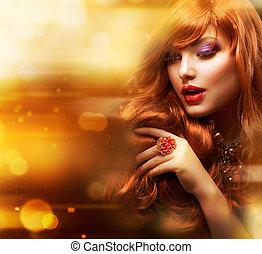 dourado, moda, menina, portrait., ondulado, cabelo vermelho