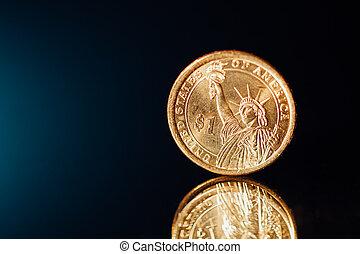 dourado, moeda dólar, com, copy-space