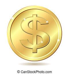 dourado, moeda, sinal dólar