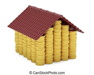 dourado, moedas, casa, isolado, branco, fundo