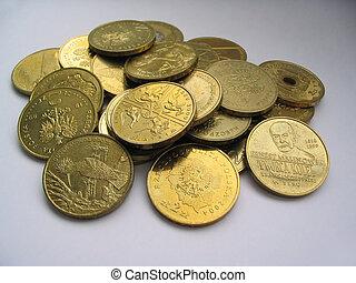dourado, moedas, cobrar