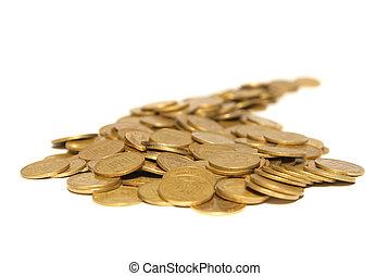 dourado, moedas, estrada