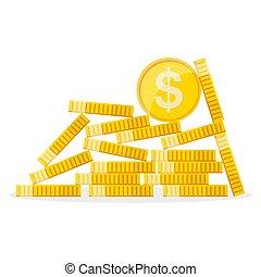 dourado, moedas., illustration., dólar, vetorial, montão