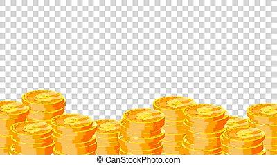 dourado, moedas., moeda, finanças, ouro, apartamento, dólar, moedas, dinheiro., isolado, ilustração, fundo, montão, pile., transparente, vector.