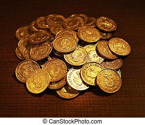 dourado, moedas, montão