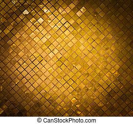 dourado, mosaico, grunge, ouro, fundo