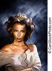 dourado, mulher, colorido, coloração, pele, denominado, Retrato