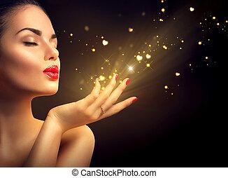 dourado, mulher, magia, beleza, jovem, soprando, pó, ...