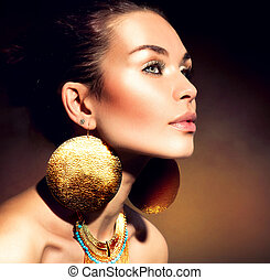 dourado, mulher, maquilagem, jewels., moda, portrait., trendy