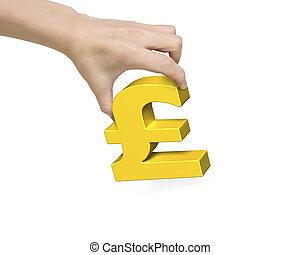 dourado, mulher, símbolo, mão, libra, segurando