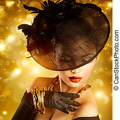 dourado, mulher, sobre,  glamour, fundo, Retrato, feriado