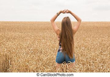 dourado, mulher, trigo, jovem, campo, feliz