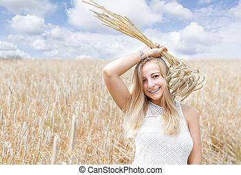 dourado, mulher, trigo, jovem, campo