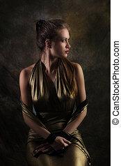 dourado, mulher, vestido
