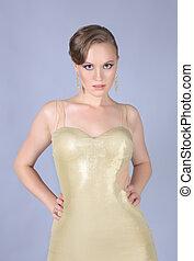 dourado, mulher, vestido, jovem