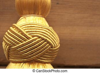 dourado, nó, topo, tassel