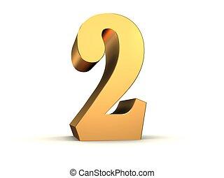 dourado, número, -, 2