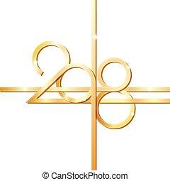 dourado, números, 2018, ano, novo, feliz