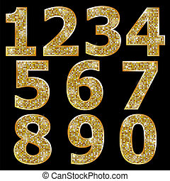 dourado, números, brilhante, metálico