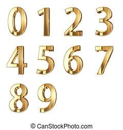 dourado, números, isolado, com, clippign, caminho