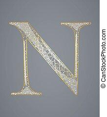 dourado, n., letra, abstratos
