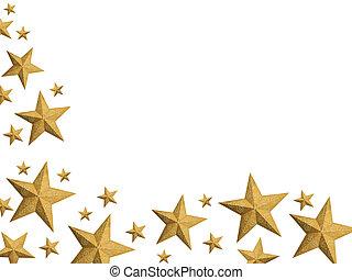 dourado, natal, estrelas, fluxo, -, isolado