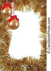 dourado, natal, quadro, com, bola copo