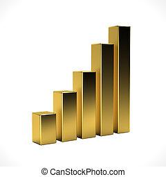 dourado, negócio, barzinhos, isolado, em, branca, experiência., 3d, fazendo, ilustração