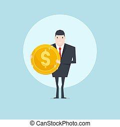 dourado, negócio, sucedido, mão., segurando, moeda, homem