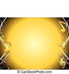 dourado, notas, música, fundo