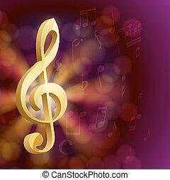dourado, notas, musical, tecla