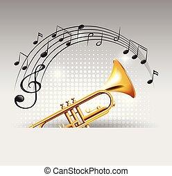 dourado, notas, trompete, fundo, música