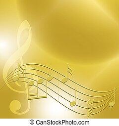 dourado, notas, -, vetorial, música, fundo