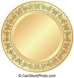 dourado, ornamento, prato