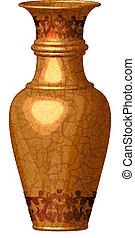 dourado, ornate, vaso
